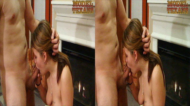 Hot Texan babe gives a sensual blowjob in front of the 3D camera (for 3D TV and nintendo 3DS)