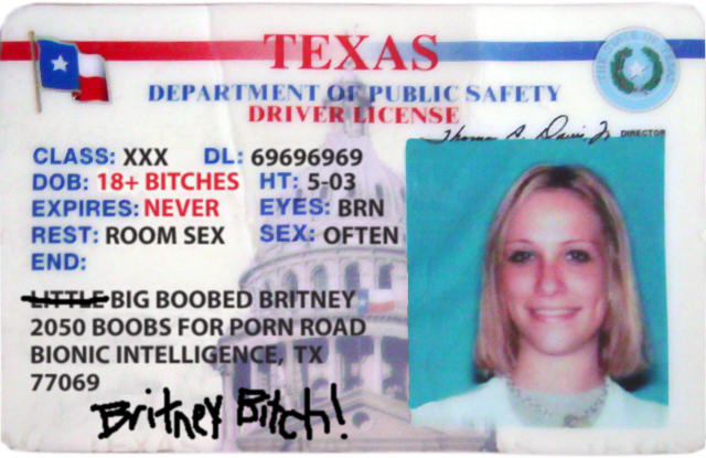 Big Boobed Texas Model Britney's Driver's License Scan